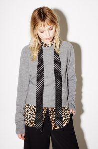 Classic cashmere, leopard print shirt and skinny scarf
