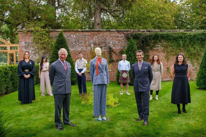 HRH The Prince of Wales & YOOX NET-A-PORTER GROUP Chairman and CEO Federico Marchetti with six of the Modern Artisans at the final collection review at Dumfries House