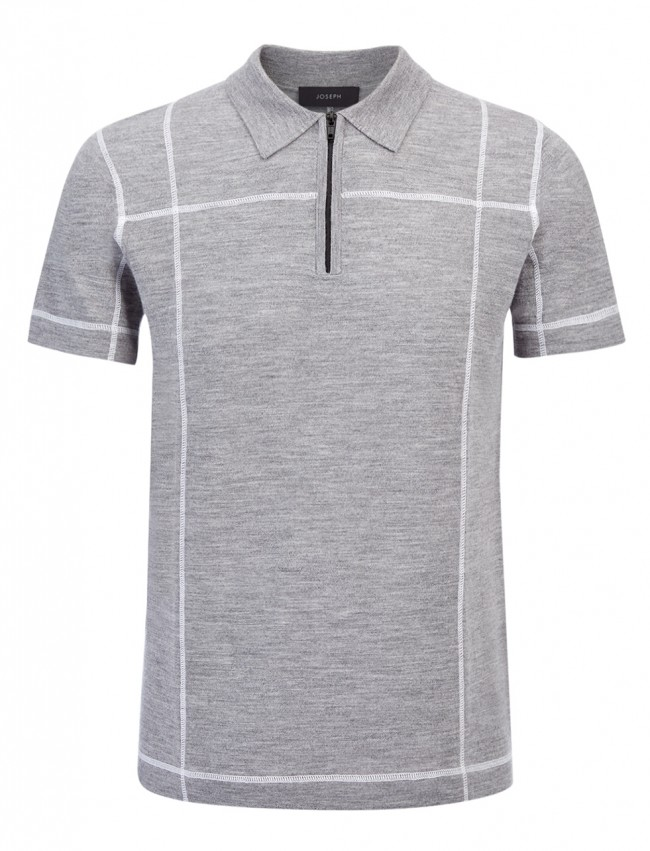 Stitch Merino Grey Polo Shirt with zip detail, £145.00, Joseph